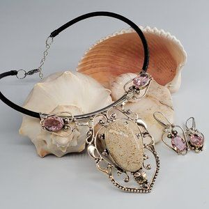 Leather/Silver Necklace Genuine Coral Stone
